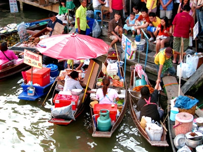 Amphawa Floating Market and Folding Umbrella Market