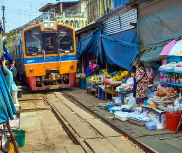 Damnern Saduak floating market and Maeklong train market